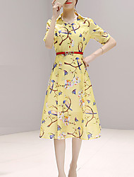 Women's Vintage A Line Dress,Print Shirt Collar Knee-length Short Sleeve Yellow Polyester Summer