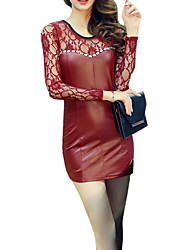 Women's Club Sexy Sheath Dress,Patchwork Round Neck Mini Long Sleeve Red / Black PU Summer