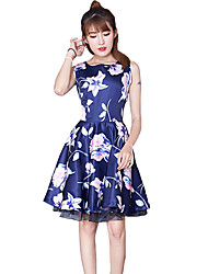 Women's Vintage Floral Sheath Dress,Round Neck Above Knee Polyester