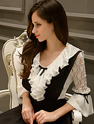 Women's Color Block White Blouse,Ruff Collar ½ Length Sleeve