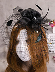 Flower Shape Veil Fascinators Hat Hair Jewelry for Wedding Party