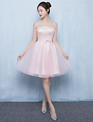 Knee-length Tulle Bridesmaid Dress - A-line Jewel with Beading