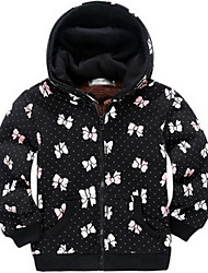 Girl's Black Jacket & Coat,Floral Cotton Winter