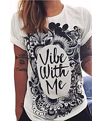 Damen T-Shirt - Stickerei Baumwolle Kurzarm Rundhalsausschnitt