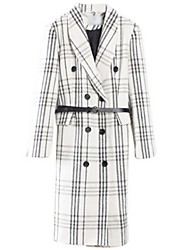 Women's Check White Coat,Street chic Long Sleeve Polyester
