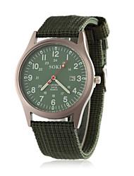 Men's Wrist watch Quartz Fabric Band Black Brown Green