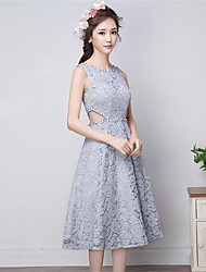 Cocktail Party Dress A-line Jewel Tea-length Lace with Sequins
