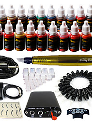 Solong Tattoo Rotary Tattoo Machine & Permanent Makeup Pen 50 Needle Cartridges Ink Set Power Supply Foot Pedal  EK103-3