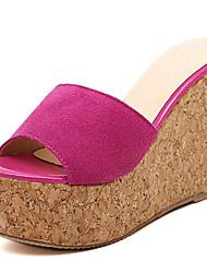 Women's Shoes Fleece Wedge Heel Wedges / Heels Sandals / Slippers Outdoor / Casual Black / Red