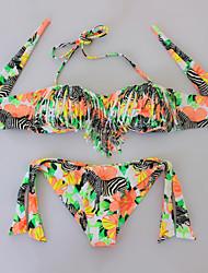 Bikinis Aux femmes Franges / Bohème Soutien-gorge Rembourré Bandeau Polyester