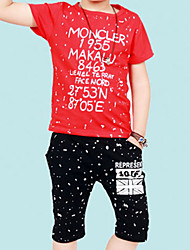 Boy's Cotton Summer Letter And Number And Snow Scrawl Two-piece Suit