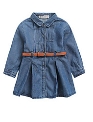 Girl's Blue Dress Cotton Fall