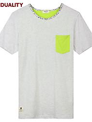 Trenduality® Hombre Escote Redondo Manga Corta Camiseta Gris-43223