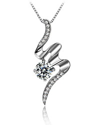 Trendy Jewelry 925 Real Silver Chain Slide Line Shaped Pendant Small Snake Necklace Rhinestone High Quality