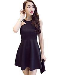 Women's Sexy Solid Sheath Dress,Halter Mini Polyester