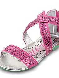 Girl's Summer Comfort / Gladiator / Open Toe / Sandals PU Dress / Casual / Party & Evening Flat Heel Rivet / Zipper / Tassel Pink