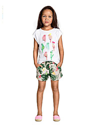 Polyester-Zomer-Girl's-Short-Groen