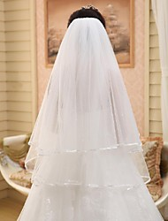 Wedding Veil Two-tier Elbow Veils Pencil Edge Chiffon White