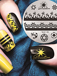 2016 Latest Version Fashion Pattern Boat Anchor Nail Art Stamping Image Template Plates
