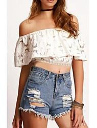 Women's Solid White Blouse,Strapless Short Sleeve