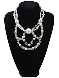 Fashion Charm Jewelry Pendant Chain Simulated Pearl Choker Chunky Statement Bib Necklace