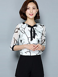 Women's Print White Blouse,Round Neck ¾ Sleeve