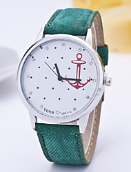 Women Fashionable Leisure Canvas Belt Anchor Hooks Diamond Quartz Hand Watch Cool Watches Unique Watches