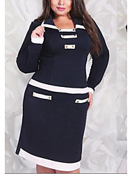 Women's Casual/Daily / Plus Size Simple Bodycon Dress,Color Block Shirt Collar Above Knee Long Sleeve Black Polyester Summer