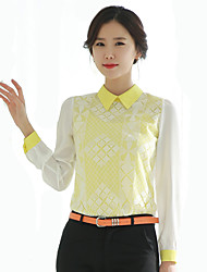 Women's Doll Collar Lace Patchwork Chiffon Blouse Long Sleeve Shirt