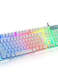 arco iris contacto mecánico con cable USB de escritorio del ordenador portátil a prueba de agua iluminada pro teclados de ordenador