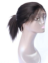 Natural Looking Virgin Brazilian Human Hair Yaki Straight Wig For Black Women High Ponytail