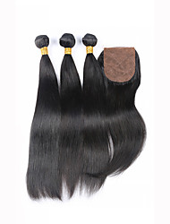 Grade 7A Slove Hair Unprocessed Human Virgin Peruvian Straight Virgin Hair Bundles with Silk Base Closure