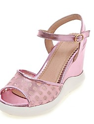 Women's Shoes Wedge Heel Wedges / Peep Toe / Platform Sandals Party & Evening / Dress / Casual Pink / Silver / Gold