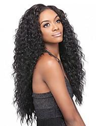 бразильские человеческие девственные волосы кудрявый локон бесклеевое полный шнурок / парик фронта шнурка с беленой узлов для женщин