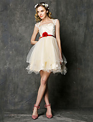 Short/Mini Lace / Tulle Bridesmaid Dress-Champagne A-line Sweetheart