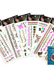 kinghorse-Tatuajes Adhesivos-Non Toxic / Waterproof / Metálico-Otros-Mujer / Adulto-Multicolor-Papel-7Pcs/Lot =6pcs temporary tattoos
