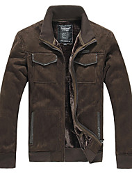 Lesmart Men's Stand Long Sleeve Down & Parkas Brown - JW13445