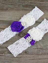 Подвязка Кружева Шифон Цветок Искусственный жемчуг Белый