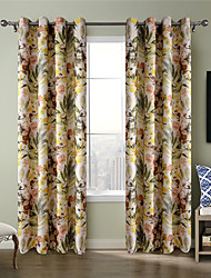 Chadmade Heat Tranfer Print Flower  Pattern - Nickle Grommet - Yellow