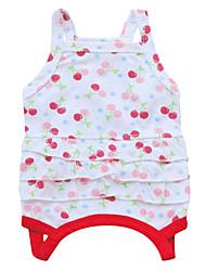 Chat / Chien Robe Rouge / Vert / Blanc Vêtements pour Chien Eté / Printemps/Automne Floral / Botanique Mode