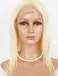"mulheres rendas peruca dianteira 16 ""-22"" brazilian cor do cabelo virgem cabelo liso (louro)"
