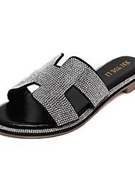 Zapatos de mujer-Tacón Plano-Zapatillas-Pantuflas-Casual-PU-Negro / Plata