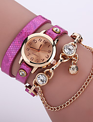 Women's Quartz Analog Gold Case Multilayer Leather Band Bracelet Wrist Fashion Watch Jewelry Cool Watches Unique Watches Strap Watch