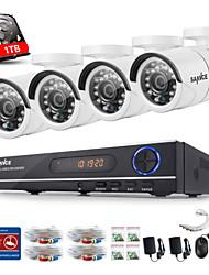 sannce® 720p ahd 8ch levou vedio CCTV HDD de 1TB sistema de câmera de segurança DVR Vigilância casa (branco)