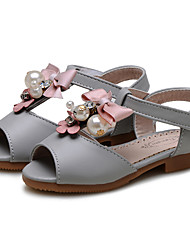 Girl's Sandals Summer Flower Girl Shoes Comfort Leatherette Wedding Outdoor Dress Casual Party & Evening Flat HeelRhinestone Bowknot