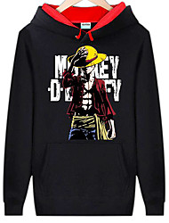 Inspiré par One Piece Monkey D. Luffy Anime Costumes de cosplay Hoodies Cosplay Imprimé Noir Manche Longues Top