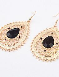 Retro Vintage Women Statement Hollow Water Drops Shaped Bohemian Pierced Dangle Alloy Earrings
