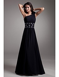 A-Line One Shoulder Floor Length Chiffon Evening Dress with Beading