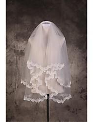 Wedding Veil Two-tier Elbow Veils Fingertip Veils Cut Edge Lace Applique Edge Tulle Beige