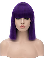 Top Quality Midlle Long Straight Green Color Cosplay Hair Synthetic Wig 4 Colors Can be Choose.